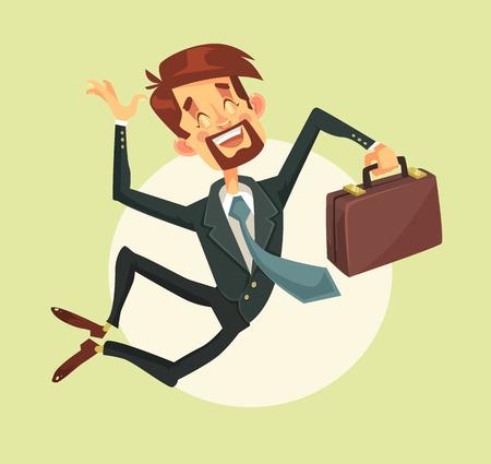 幸せな男がジャンプします。ベクトル フラット漫画イラスト  イラスト・ベクター素材