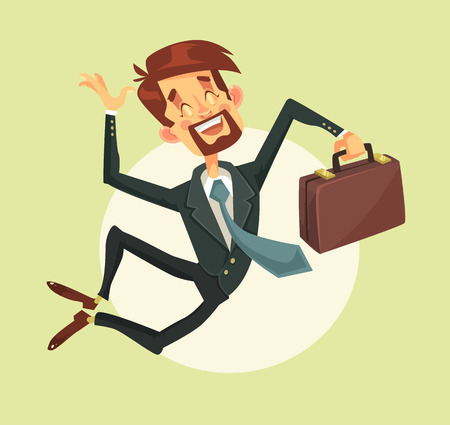 Happy man jumping. Vector flat cartoon illustration Ilustração
