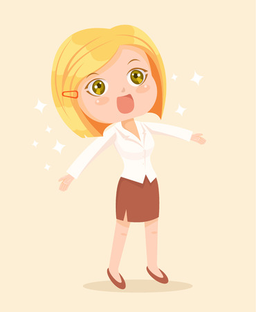Carácter feliz mujer de negocios. Vector ilustración de dibujos animados plana
