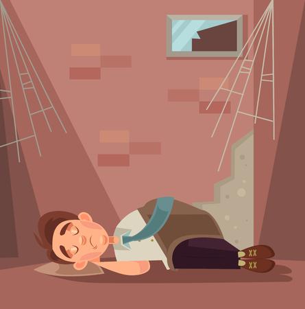 fired: Fired office worker character sleeping on street. Vector flat cartoon illustration