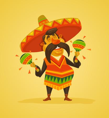 Carácter del hombre mexicano con maracas. Vector ilustración de dibujos animados plana
