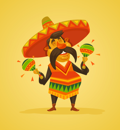 Mexican man character with maracas. Vector flat cartoon illustration Illustration