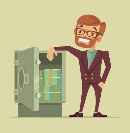 safe investment: Businessman character standing near safe full of money. Vector flat cartoon illustration Illustration