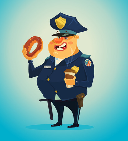 american food: Police officer character eating donuts and coffee. Vector flat cartoon illustration