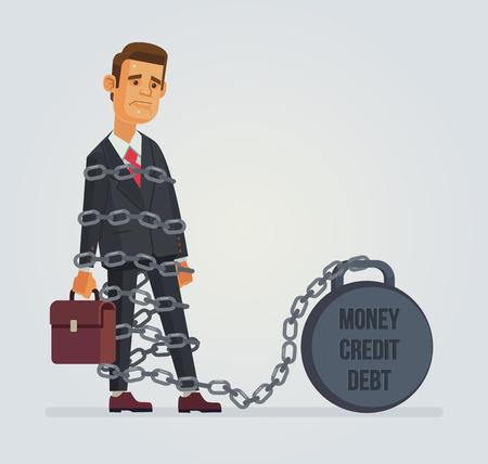 debtor: Office worker character with debt credit money weight. Vector flat cartoon illustration