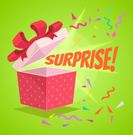 Open surprise text gift box. Vector flat cartoon illustration Stock Illustratie