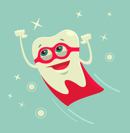 Superhero tooth character. Vector flat cartoon illustration