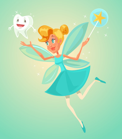 Tooth fairy character holding tooth. Vector flat cartoon illustration