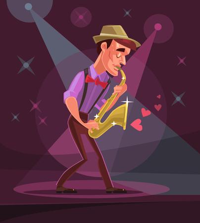 solo: Jazz man character plays solo in club. Vector flat cartoon illustration Illustration