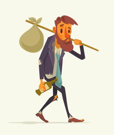 loitering: Unemployed office worker character. Vector flat cartoon illustration Illustration