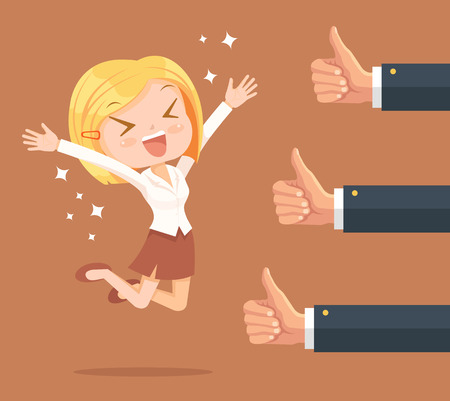 happy employees: Happy businesswoman character and many hands with thumbs up. Vector flat illustration Illustration
