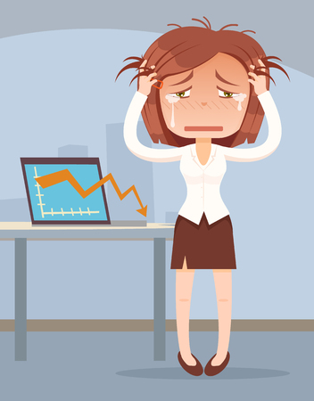 stress woman: Business fail. Graph down. Crying business woman character. Vector flat cartoon illustration