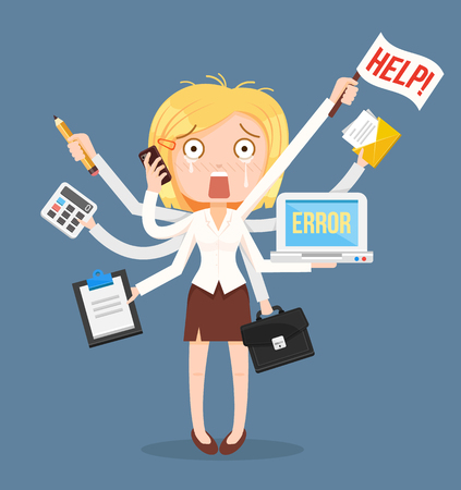 Busy businesswomen character. Multitasking hard work. Vector flat cartoon illustration Иллюстрация