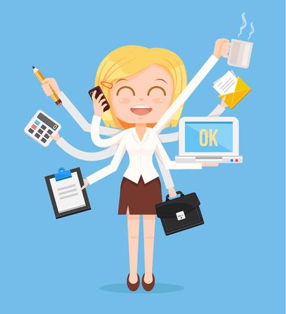 Szczęśliwa kobieta biurowy charakter. Wielozadaniowość ciężkiej pracy. Wektor ilustracja kreskówka płaska