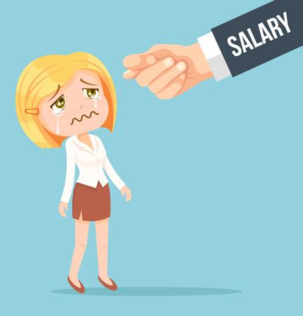Oficina trabajador mujer espera de salario. Vector ilustración de dibujos animados plana Vectores