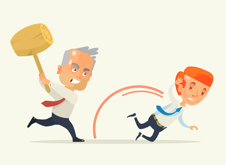 enraged: Angry boss hold hammer chase worker. Vector flat cartoon illustration Illustration