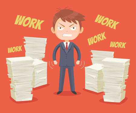 office worker: Angry office worker character has lot of works. Vector flat cartoon illustration Illustration