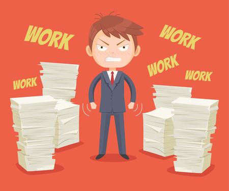 Enojado carácter trabajador de oficina tiene gran cantidad de obras. Vector ilustración de dibujos animados plana