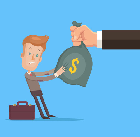 stealing: Hand stealing money from worker character. Vector flat cartoon illustration Illustration