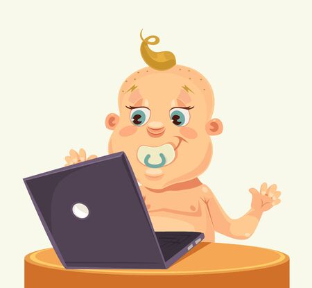 laptop vector: Baby character play laptop. Vector flat cartoon illustration