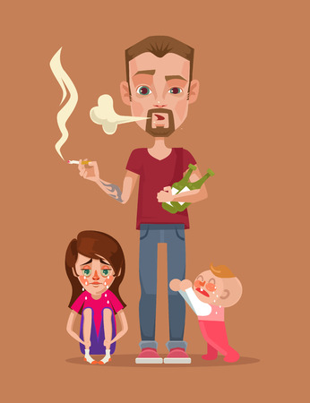 paternity: Bad drunk smoking father with children characters. Vector flat illustration Illustration
