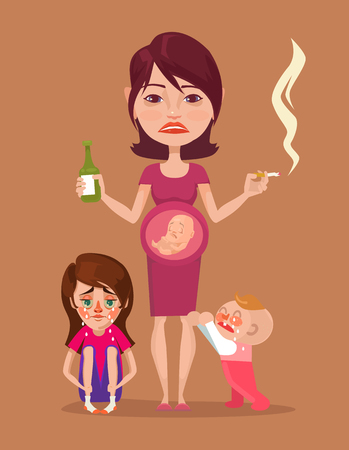 pregnant mom: Bad pregnant drunk smoking mother with children characters. Vector flat illustration