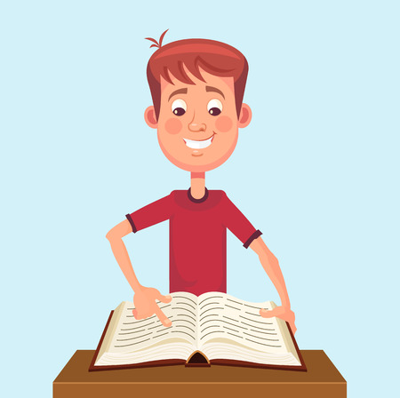Young man student character read book. Vector flat cartoon illustration