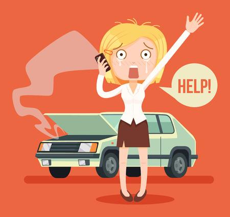 Woman character crying calling after car crash. Vector flat cartoon illustration
