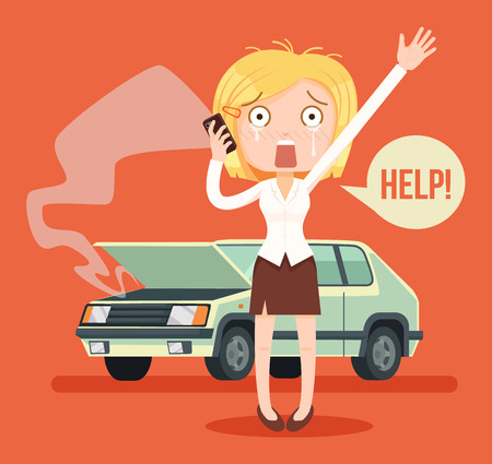 Woman character crying calling after car crash. Vector flat cartoon illustration