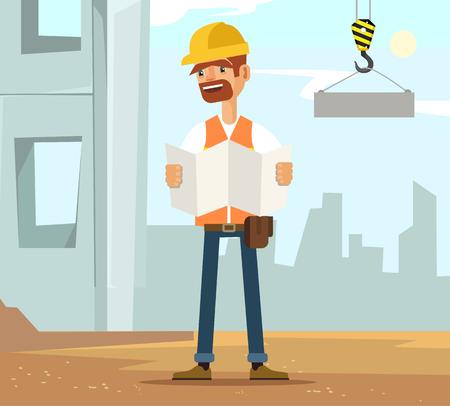 labourer: Builder man worker character on construction read plane. Vector flat cartoon illustration