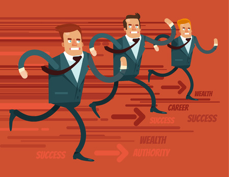 Businessmen characters run race. Vector flat cartoon illustration Illustration