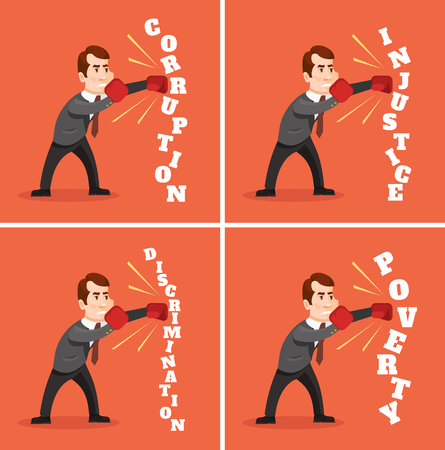 tax policy: Man character fighting against injustice. Vector flat cartoon illustration Illustration