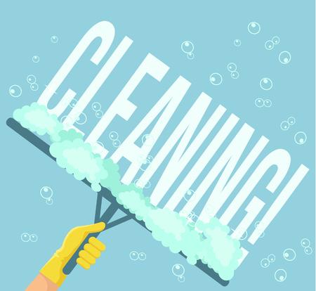 filth: Cleaning service. Vector flat cartoon illustration