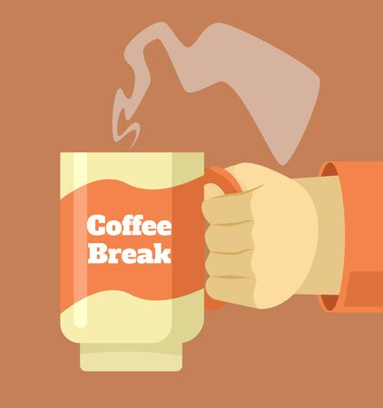hot cup: Hand hold cup of hot coffee. Coffee break. Vector flat cartoon illustration Illustration