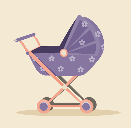 babysitter: Baby carriage icon. Vector flat cartoon illustration