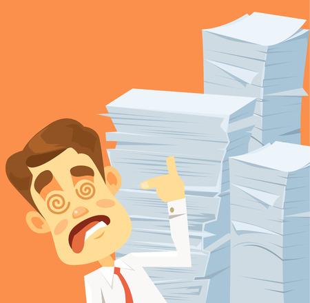 Stressful crazy businessman character. Many works. Vector flat cartoon illustration Illustration