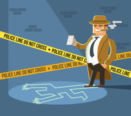 Detective at crime scene. Dead body. Vector flat cartoon illustration Illustration