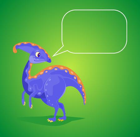 fearsome: Dinosaur character with speech bubble. Vector flat cartoon illustration