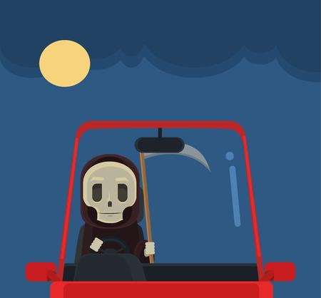 fast driving: Driver death character. Vector flat cartoon illustration