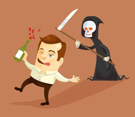 Pijany biznesmen i śmierci znaków. Wektor ilustracja kreskówka płaska