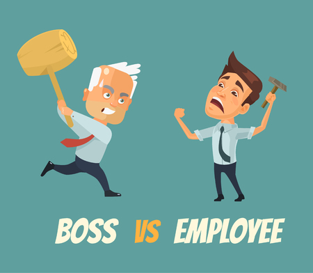 Boss vs worker characters. Vector flat cartoon illustration