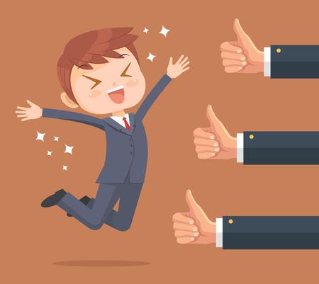 Último hombre de negocios feliz y muchas manos con los pulgares para arriba. Vector ilustración de dibujos animados plana Ilustración de vector