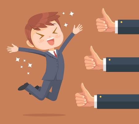 Happy businessman character and many hands with thumbs up. Vector flat cartoon illustration