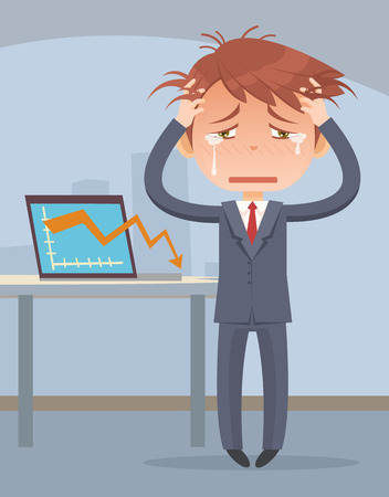 Business fail. Graph down. Crying business man character. Vector flat cartoon illustration