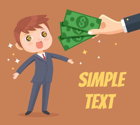 salary man: Happy man character receives salary and bonus from boss. Vector flat cartoon illustration