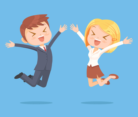 Business people character jumping. Vector flat cartoon illustration