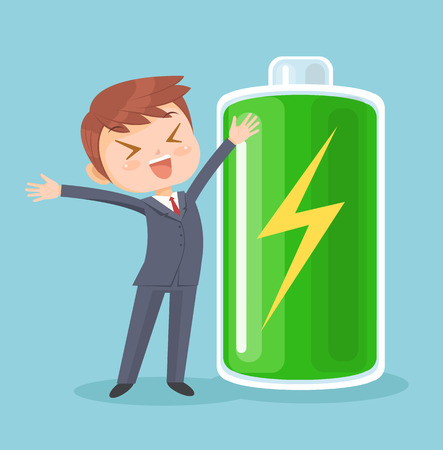 Businessman character full of energy. Vector flat cartoon illustration