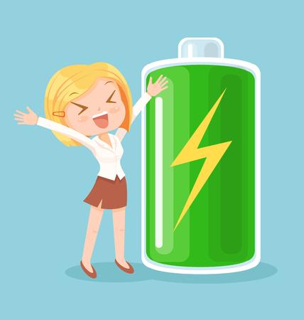 사업가 문자로 전체 에너지입니다. 벡터 플랫 만화 일러스트 레이션 스톡 콘텐츠 - 62459645