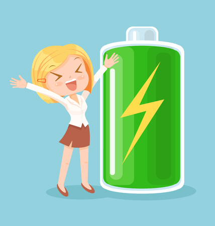 Businesswoman character full of energy. Vector flat cartoon illustration