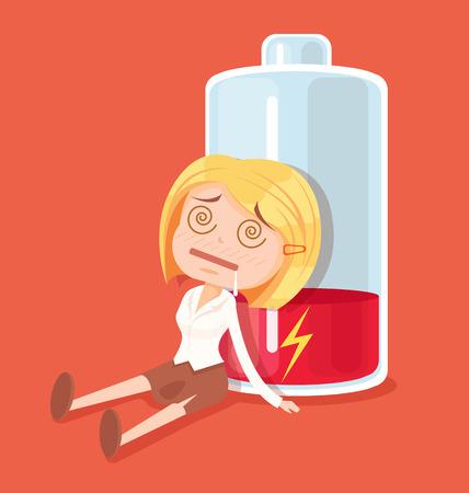 Business woman character no energy. Vector flat cartoon illustration Vettoriali